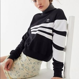 Adidas Geometric 3-Stripe Cropped Sweatshirt
